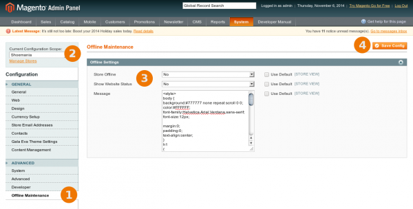 Configuring Maintenance mode for some store view in Magento Backend