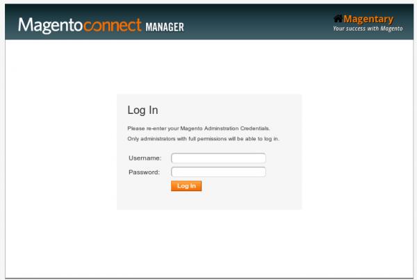 Login screen of Magento Downloader