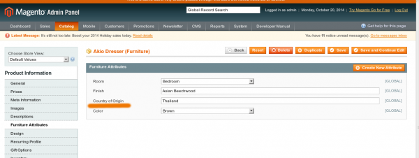 Product Attributes in Magento backend