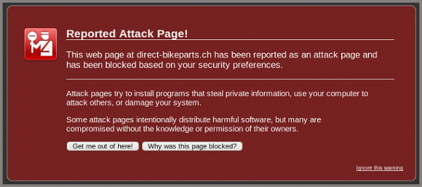 Reported Attack Page for malware-infected Magento store